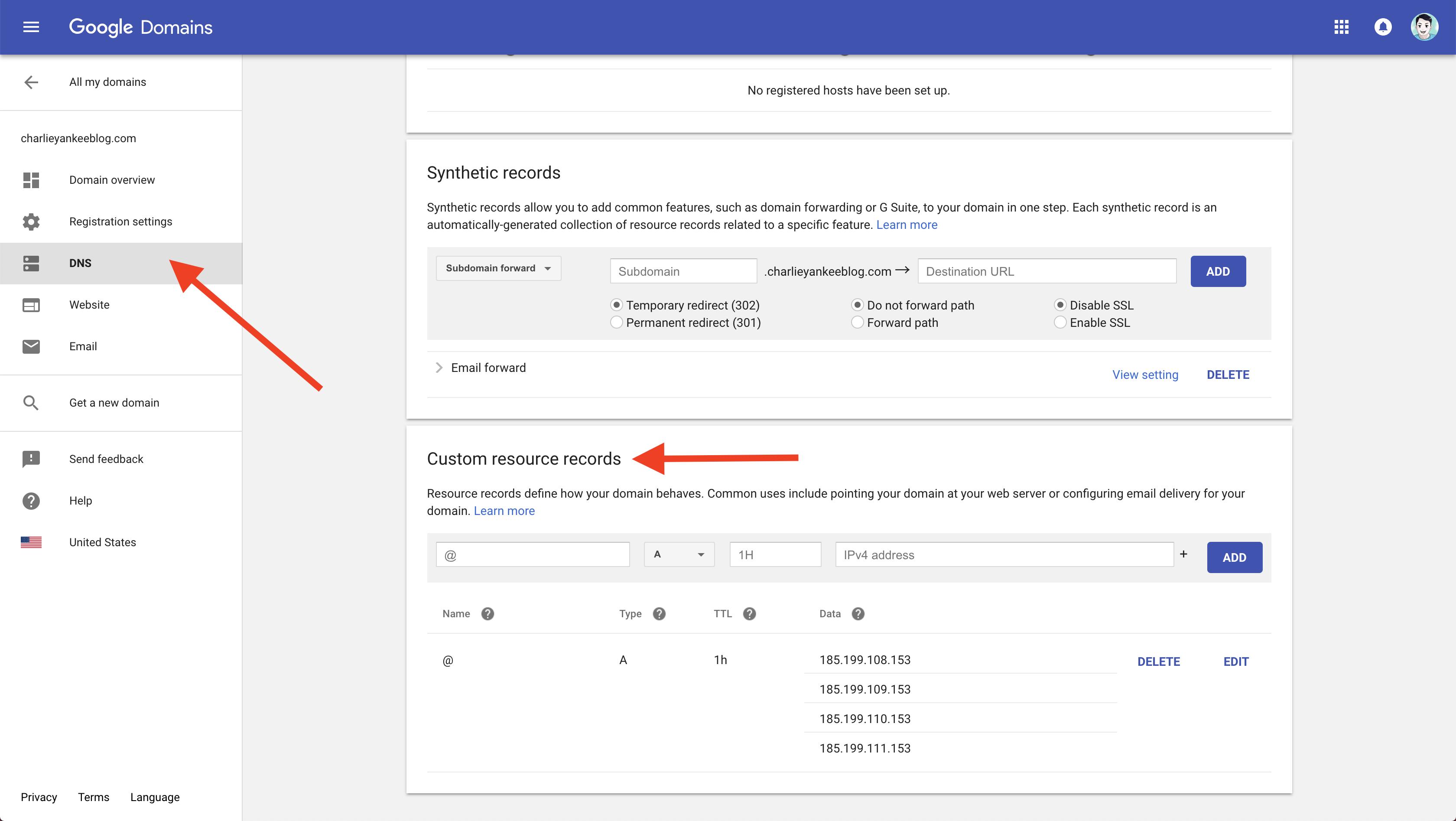 DNS Custom resource records